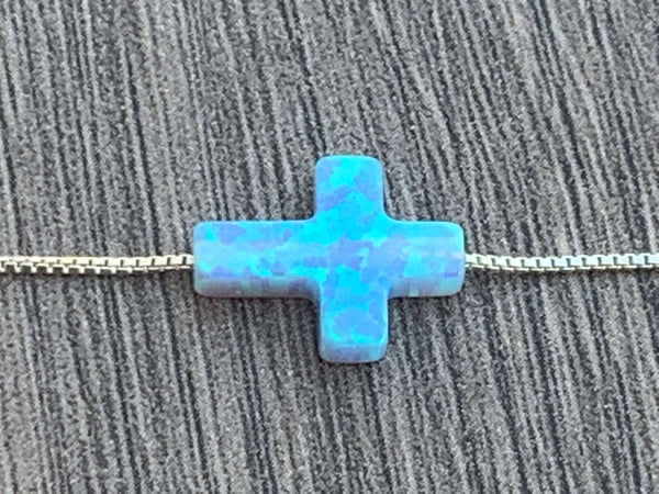 Opal Cross Bracelet on Sterling Silver or 14kt Gold Filled Chain