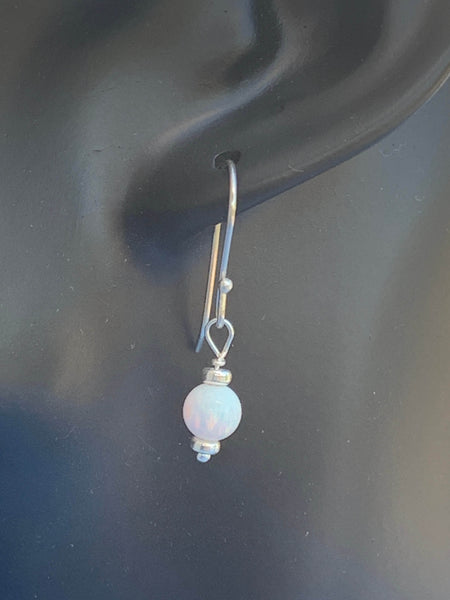 white opal sterling silver dangle earrings