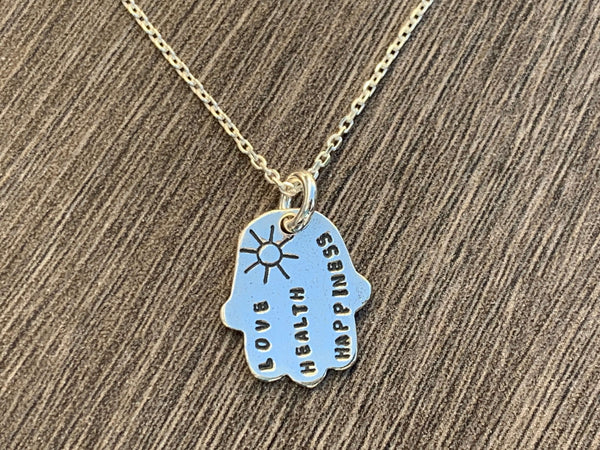 Sterling Silver Hamsa Necklace - Hebrew/English/Plain