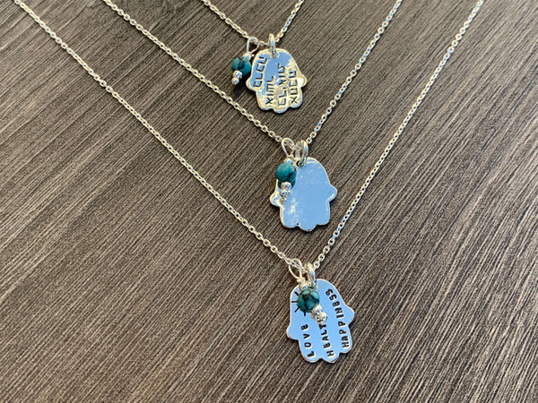 Hamsa Sterling Silver Necklace with Turquoise Bead