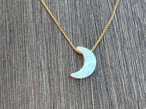 OPAL MOON 14KT Gold Filled Necklace -Your choice color and length