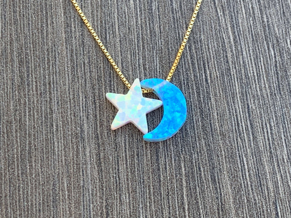 Opal Moon & Star 14kt Gold Filled Necklace