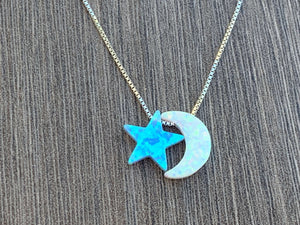 Opal Moon & Star Sterling Silver Necklace