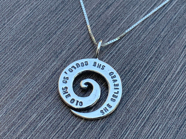 She Believed She Could So She Did - Sterling Silver Necklace