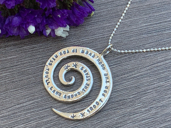 Shoot for the moon, even if you miss , you'll land among the stars -Sterling Silver Necklace
