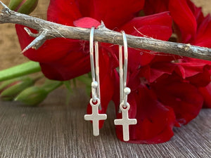 Sterling Silver Cross Earring