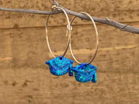 Graduation Cap Opal Hoop Earrings