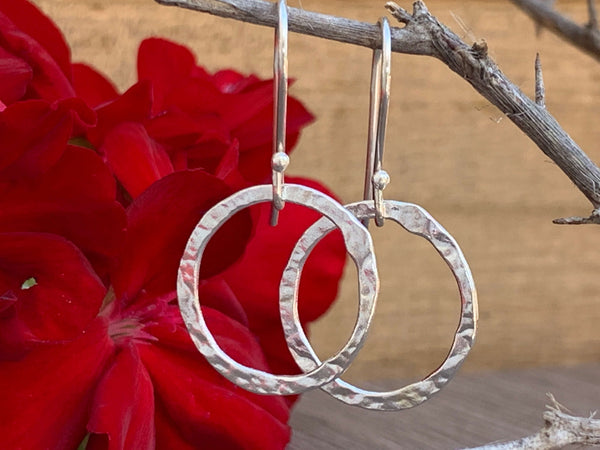 Hammered Eternity Ring Sterling Silver Dangle Hook Earrings