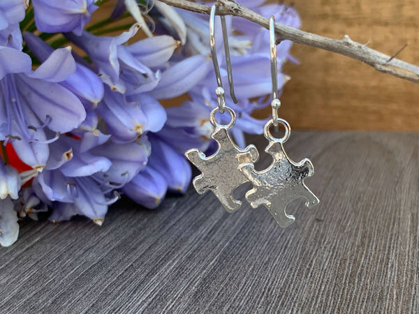 Sterling Silver Puzzle Charm Earrings