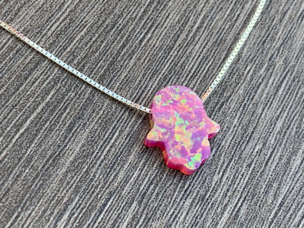 Opal Hamsa Sterling Silver Necklace