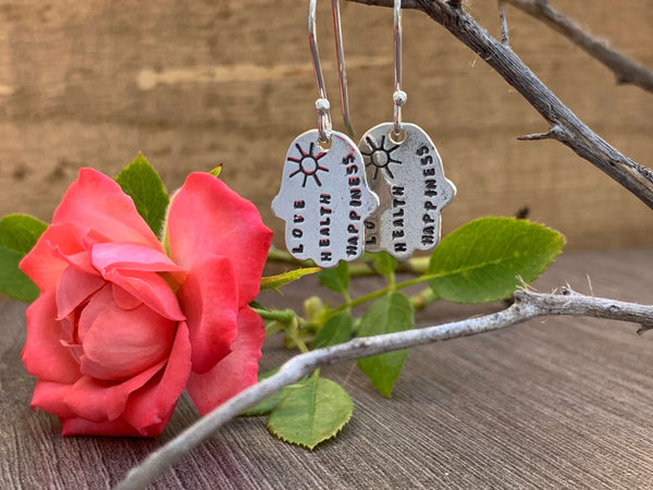 Hamsa Sterling Silver Dangle Hook Earrings