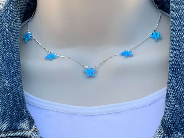Opal Star Charm Sterling Silver Choker Necklace