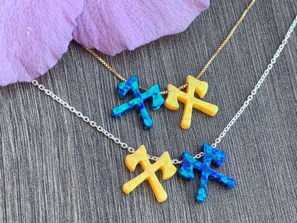 Kick Axe Opal Charms on Sterling Silver or 14kt Gold Filled Necklace