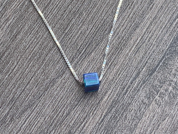 Opal Square Bead Sterling Silver or 14kt Gold Filled Necklace