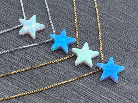 Opal Star 14kt Gold Filled or Sterling Silver Necklace