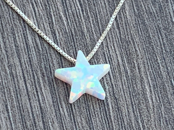 Opal Star Charm Sterling Silver or 14kt Gold Filled Necklace