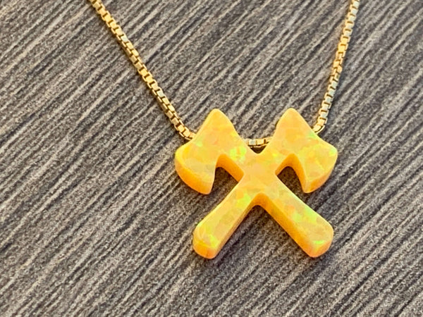 Kick Axe Opal Charm on Sterling Silver or 14kt Gold Filled Necklace