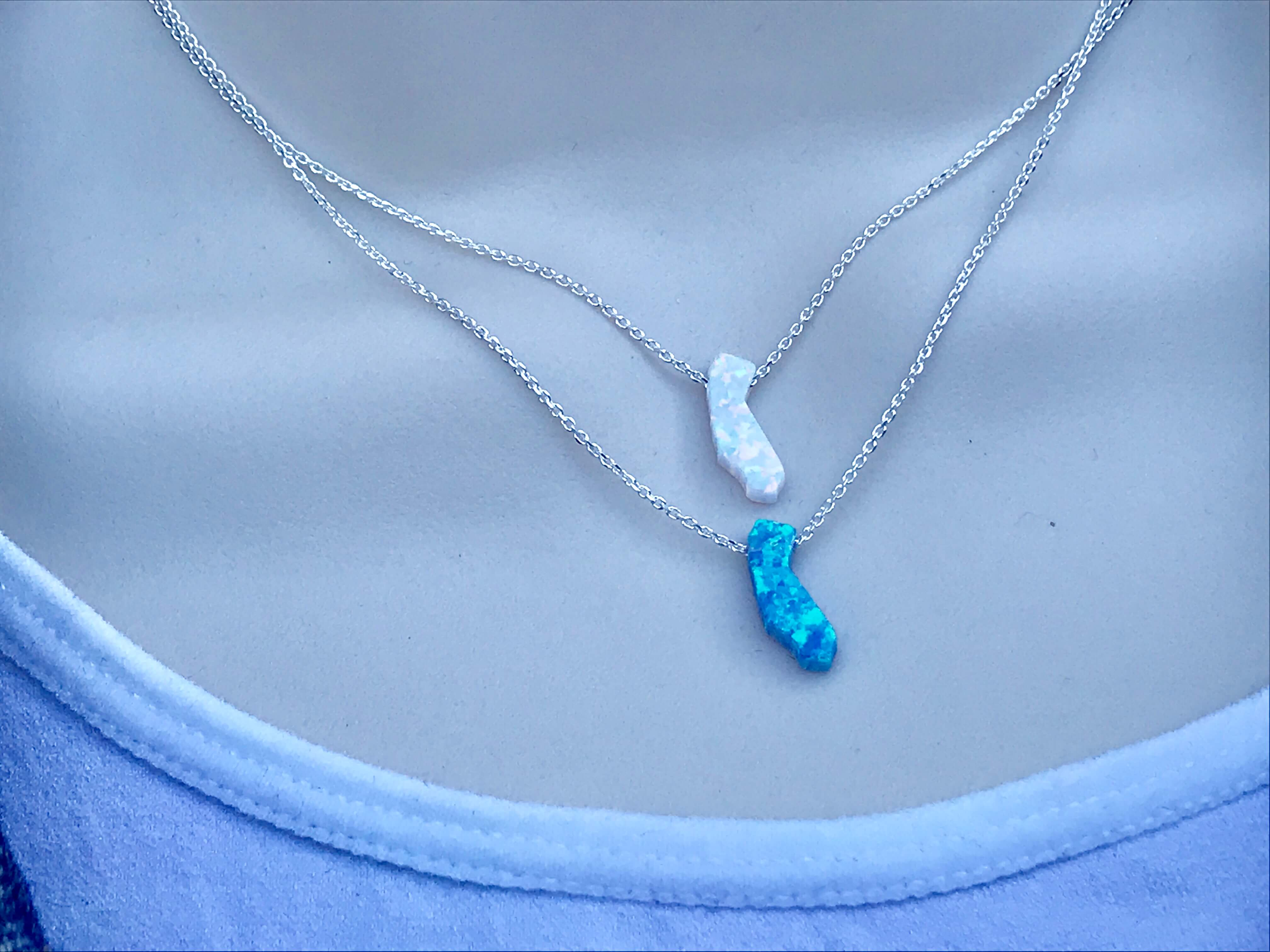California Sterling Silver Necklace - Your Choice of Length & Color