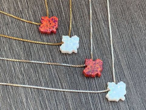 Maple Leaf Opal Necklace - Canadian Necklace - Sterling Silver or 14kt Gold Filled Chain