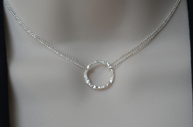 Hammered Eternity Ring Sterling Silver Necklace