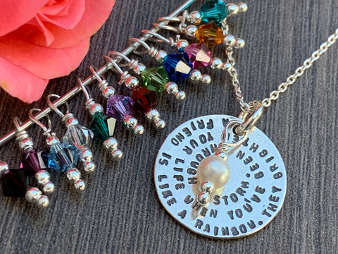 Friendship Sterling Silver Necklace with Birthstone