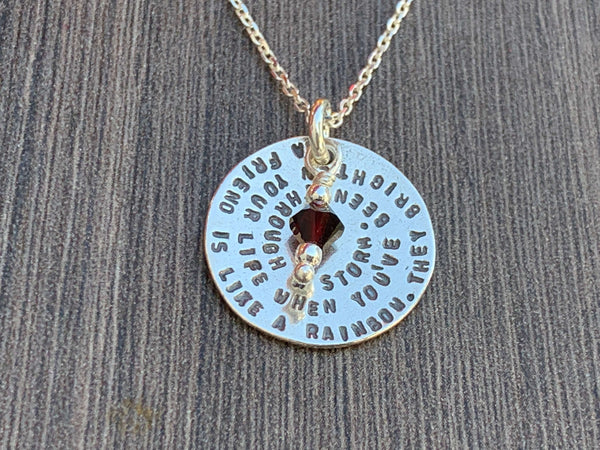 Sterling Silver Friendship Necklace with Birthstone