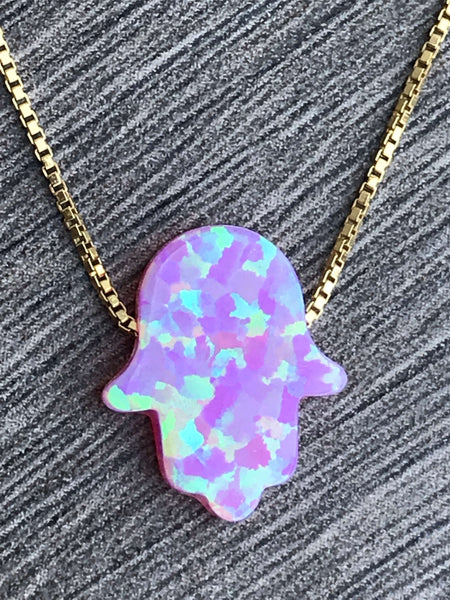 Opal Hamsa 14kt Gold Filled Necklace