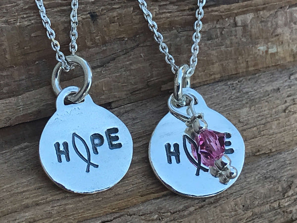 sterling silver hope necklace - cancer awareness