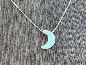 Opal Moon Sterling Silver or 14kt Gold Filled Necklace