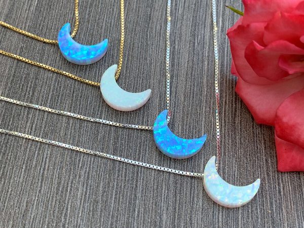 Opal Moon Charm Sterling Silver or 14kt Gold Filled Necklace