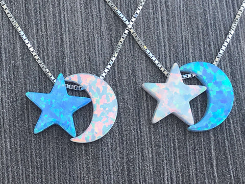 Sterling Silver Opal Moon & Star Necklace