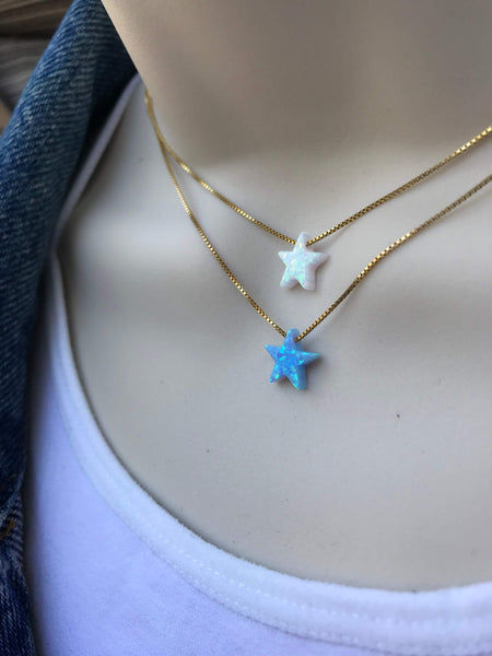 opal star gold necklace