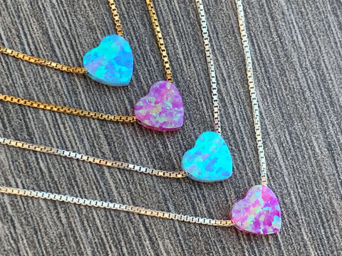 Small Opal Heart on Sterling Silver or 14kt Gold Filled Necklace