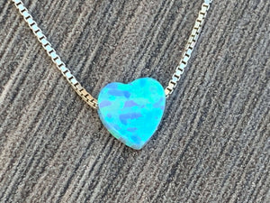 Small Opal Heart Charm Sterling Silver or 14kt Gold Filled  Necklace
