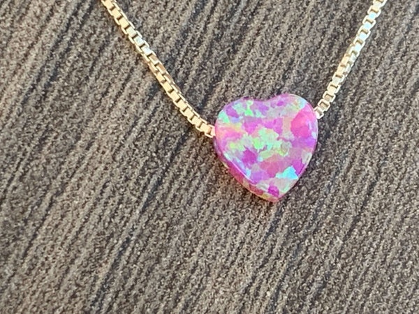 Small Opal Heart Charm Necklace - Sterling Silver or 14kt Gold Filled