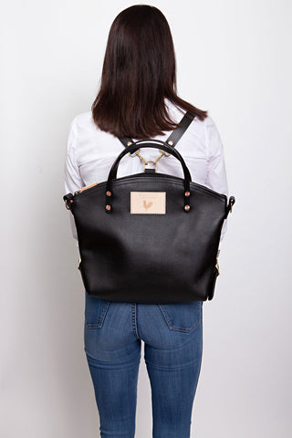 Black Leather Convertible Backpack 2.0