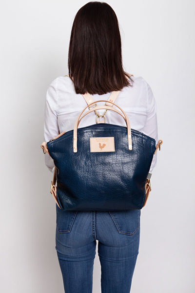Blue Bison Leather Convertible Backpack 2.0