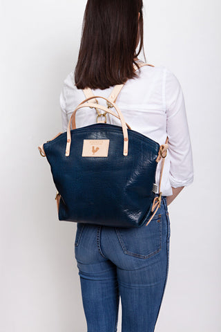 Buffalo Blue Leather Convertible Backpack 2.0