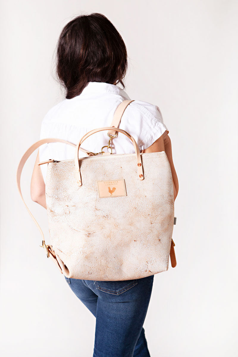 Birch White Leather Backpack