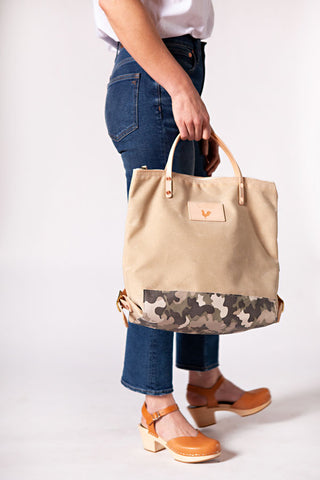 Limited Edition* Natural Wax Canvas & Stone Camo Backpack