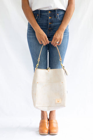 Birch White Leather Carryall & Crossbody