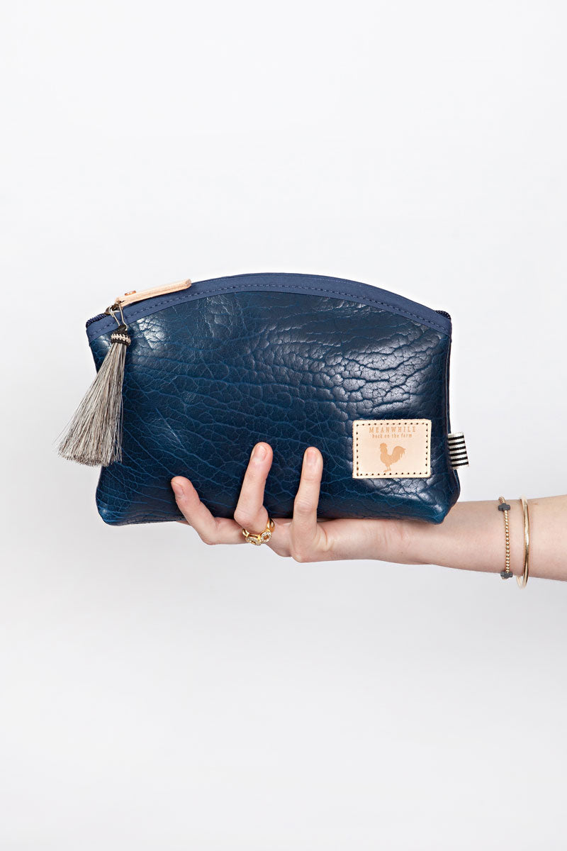 Buffalo Blue Leather Clutch