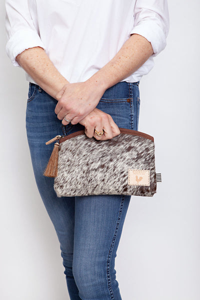 Hide Hair Leather Clutch