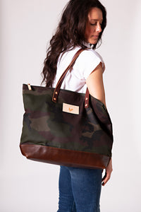 Camouflage Wax Canvas Adventure Tote
