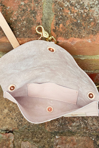 Limited Edition* Blush Leather Envelope Clutch & Crossbody