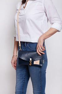 Blue Bison Leather Envelope Clutch & Crossbody
