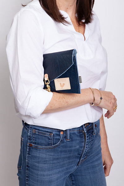 Buffalo Blue Leather Envelope Clutch & Crossbody