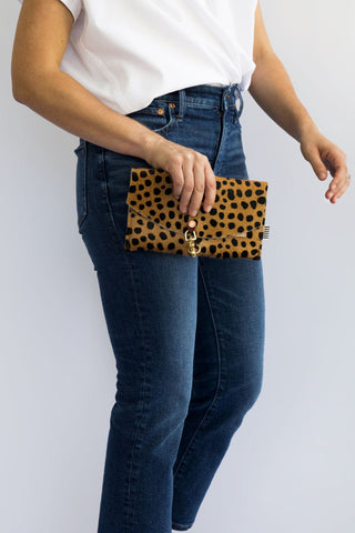 Cheetah Hair on Hide Leather Envelope Clutch & Crossbody