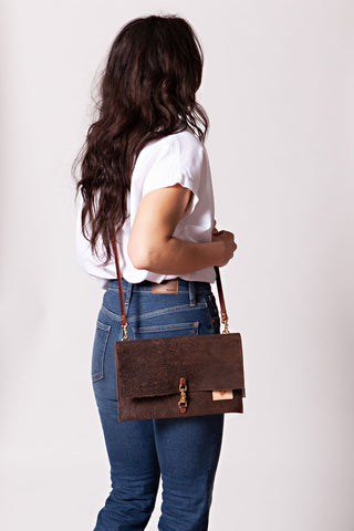Birch Mocha Leather Foldover Clutch & Crossbody