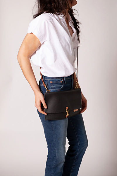 Black Leather Foldover Clutch & Crossbody